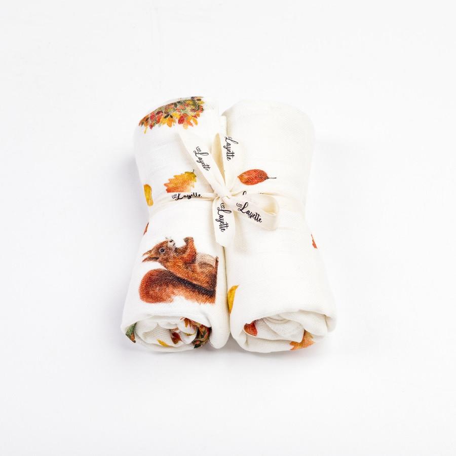 Langes bébé en mousseline de bambou - Collection Noisette