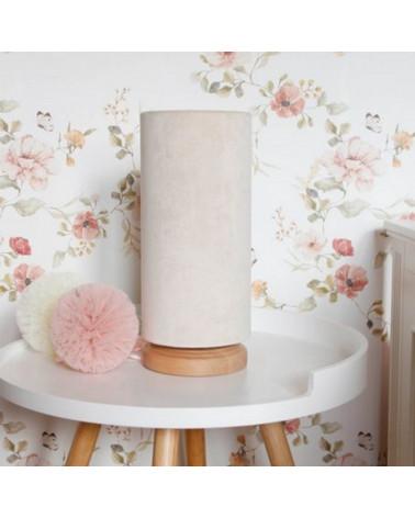 Lampe de chevet -tube velours crème