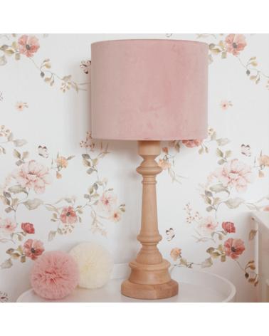 Lampe à poser - abat-jour velours rose