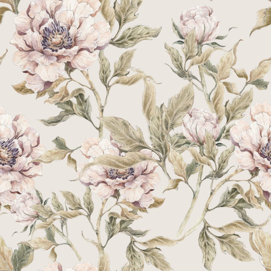 Papier peint pivoines -fond beige