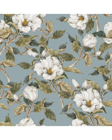 papier peint magnolias blancs sur fond bleu