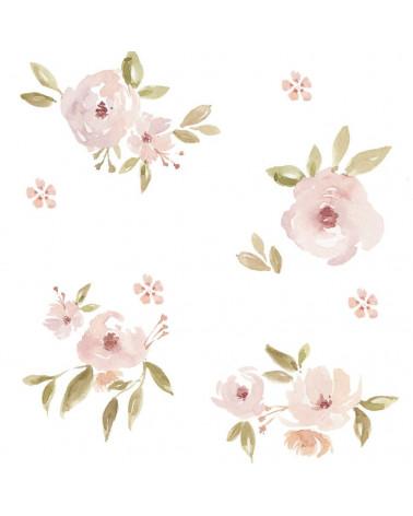 Papier peint mini magnolias rose