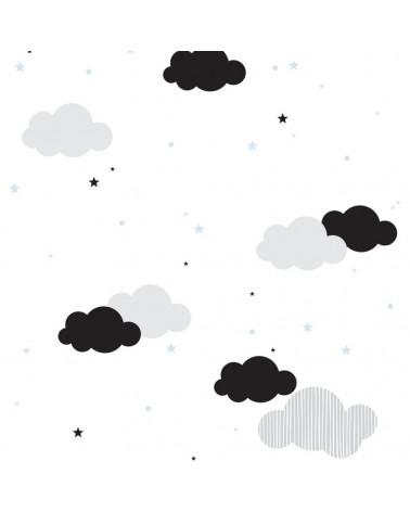 papier peint nuages et petites étoiles bleues