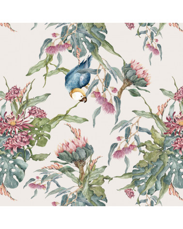 papier peint perroquets exotiques