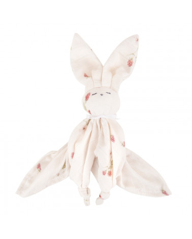 Doudou lange lapin motif framboises