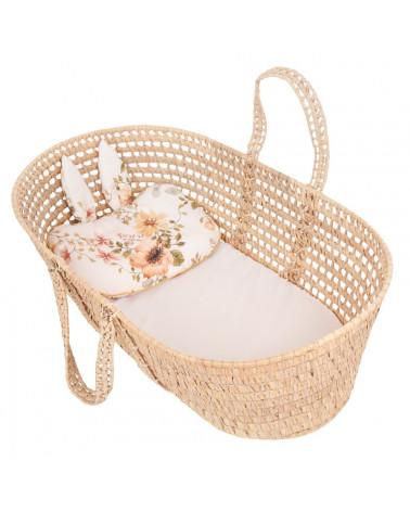 Oreiller plat bébé motif fleurs - jardin anglais vintage
