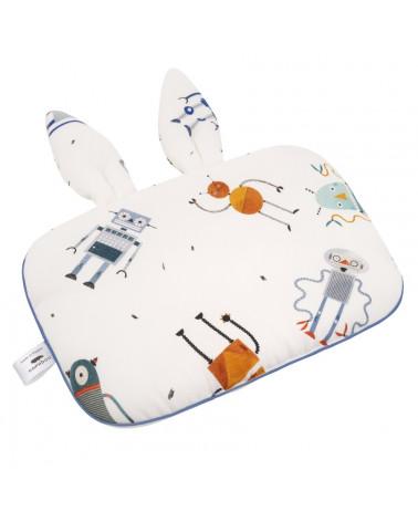 Oreiller plat pour bébé, motif robots