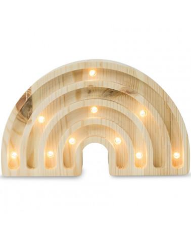Mini lampe arc-en-ciel en bois naturel