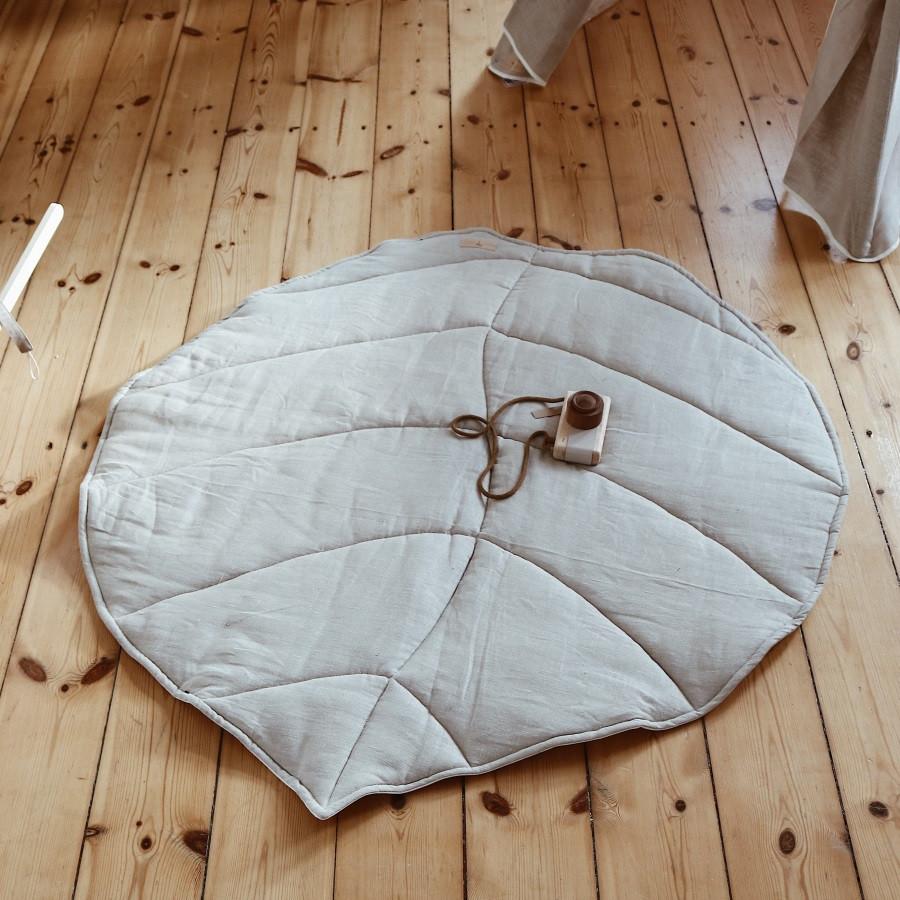 tapis de jeu feuille lin naturel
