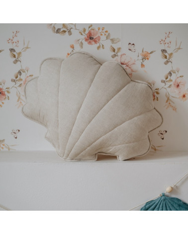 coussin coquillage lin sable