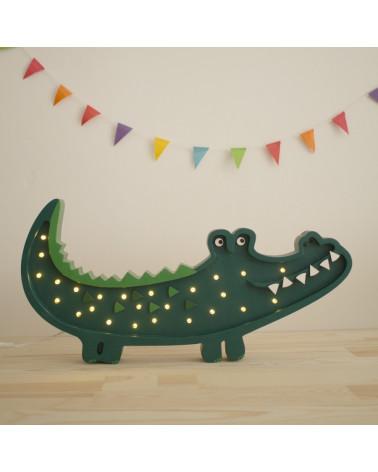 lampe veilleuse en bois crocodile