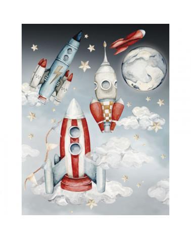 Sticker enfant fusées et satellites