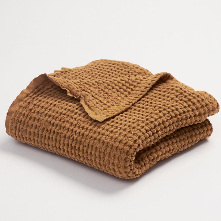Couverture gaufrée en lin et coton moutarde