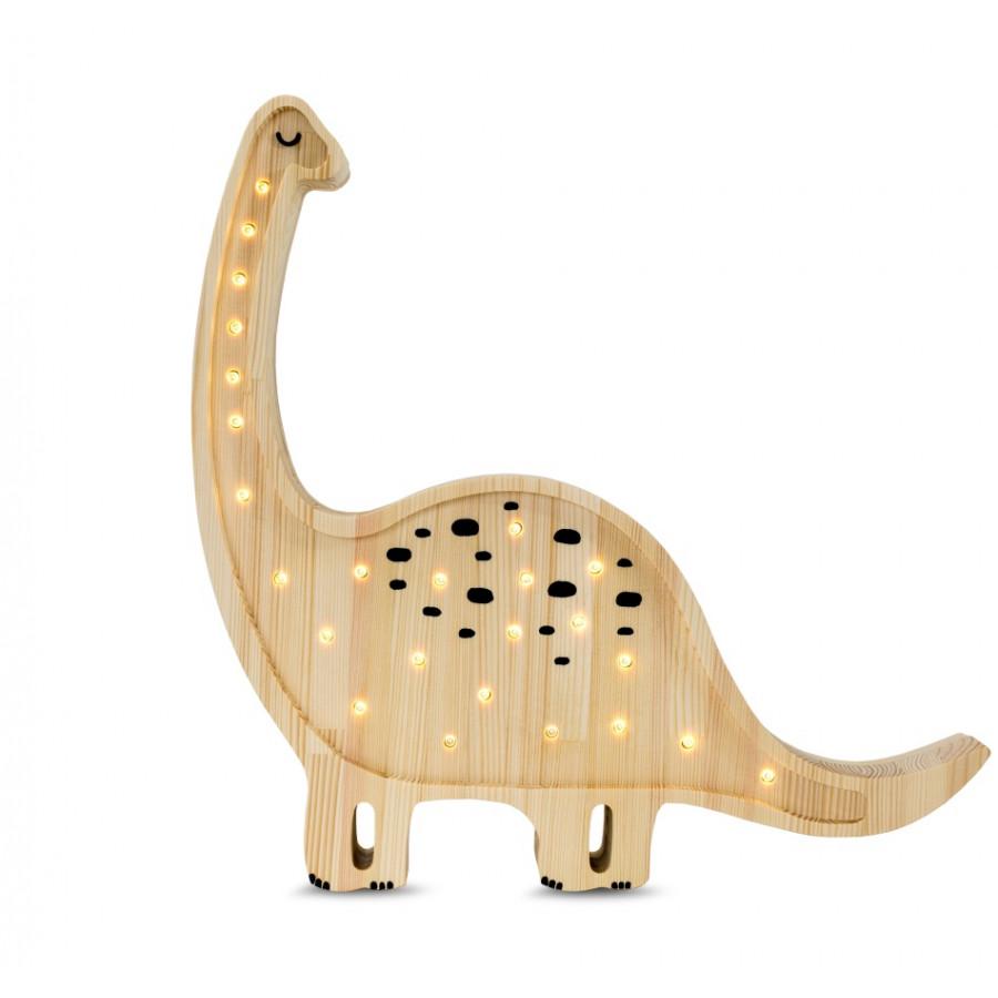 lampe veilleuse en bois naturel dinosaure