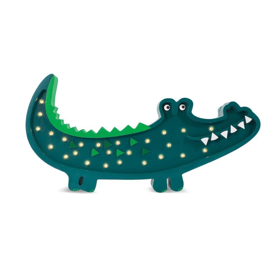 lampe veilleuse en bois crocodile vert