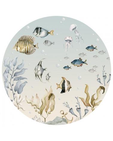 grand sticker rond poissons