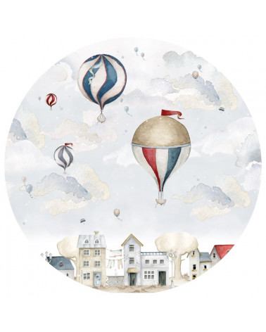 grand sticker rond montgolfières