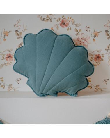 coussin en lin coquillage bleu marin