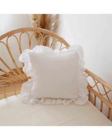 Housse de coussin en lin avec volants blanc