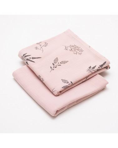 langes bébé en mousseline de coton, pack de deux, rose