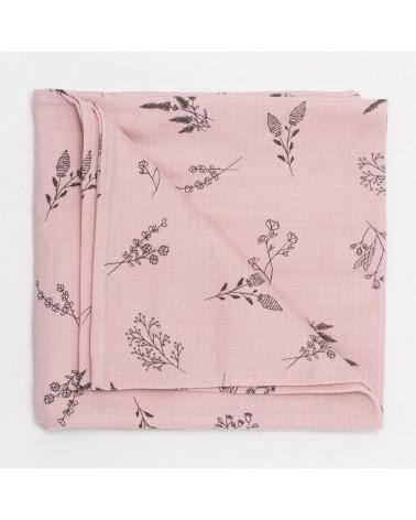 maxi lange en coton -rose botanique
