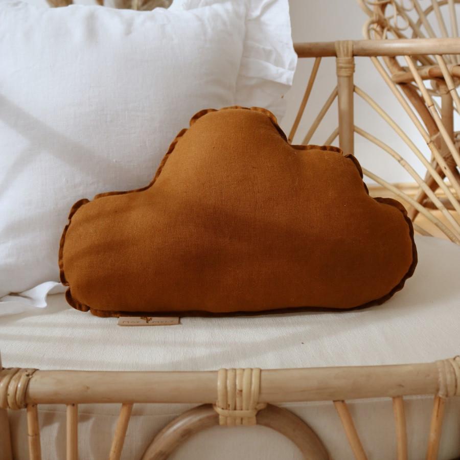 coussin décoratif nuage en lin caramel