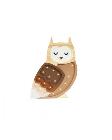 veilleuse en bois hibou café crème