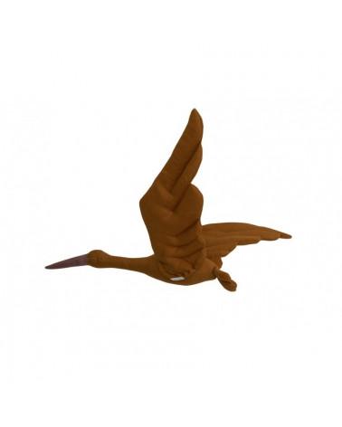 cigogne en lin à suspendre caramel