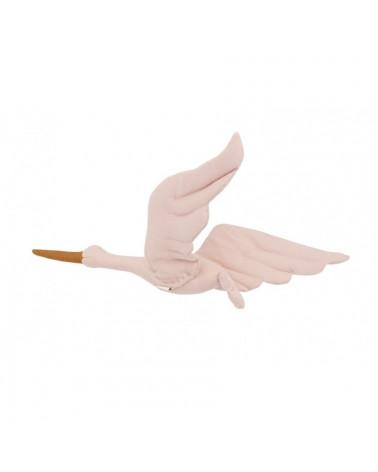 cigogne en lin à suspendre rose