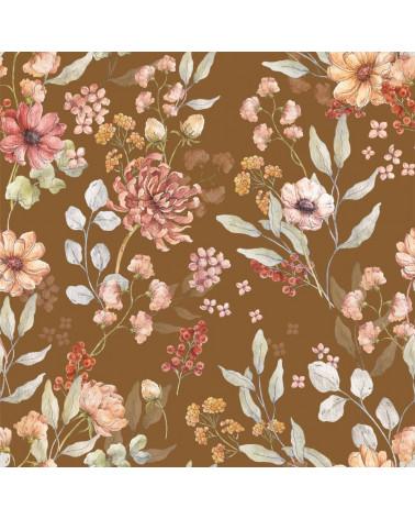 papier peint fleurs d'automnes fond marron