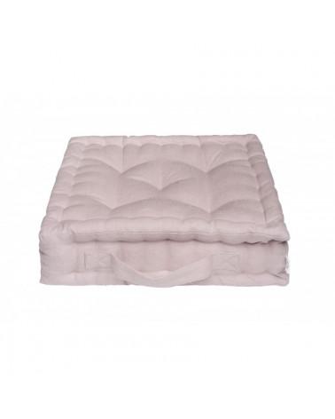 pouf coussin de sol en lin carré rose