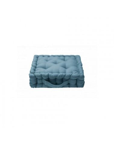 pouf coussin de sol carré en lin - bleu