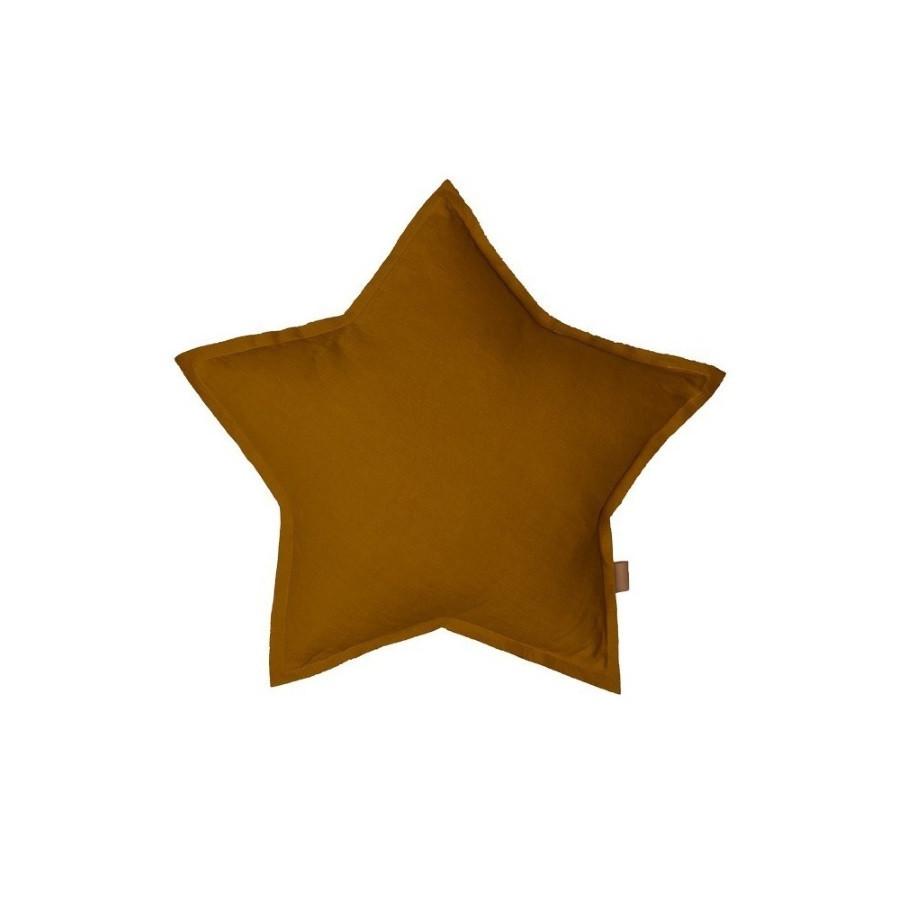 coussin étoile lin caramel