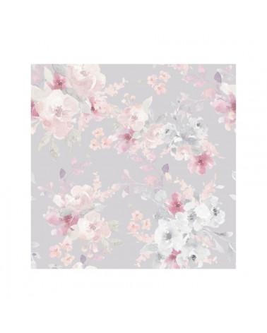Papier peint fleurs pastel fond gris clair