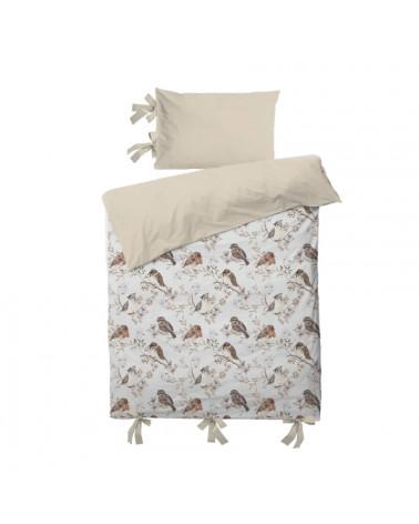 parure de lit oiseaux sur ciel blanc gris