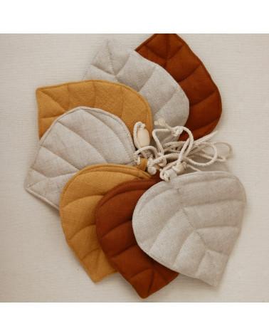 Guirlande en lin feuilles - sable, caramel, ocre