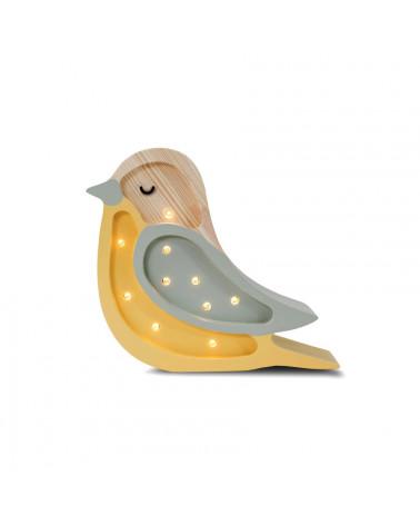 lampe veilleuse en bois mini oiseau khaki moutarde