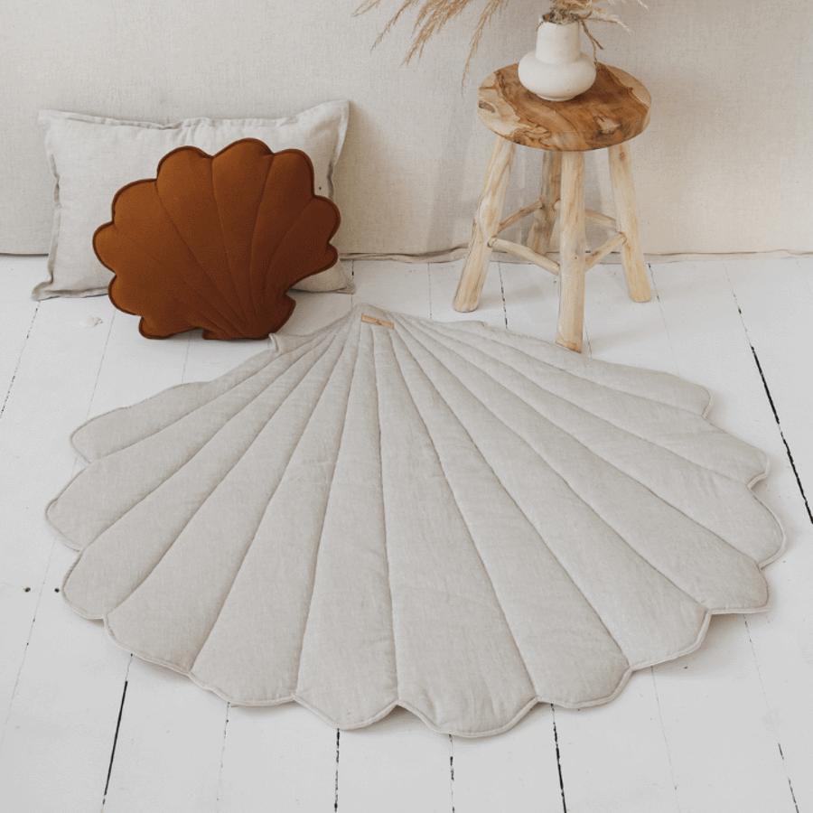 Tapis de jeu coquillage sable, lin et coton