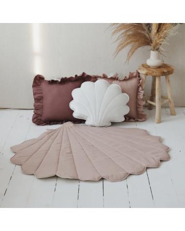 tapis de jeu coquillage rose poudré en lin