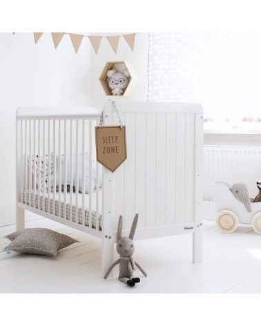 Lit bébé country cot blanc 60 cm x 120 cm Woodies safe dreams