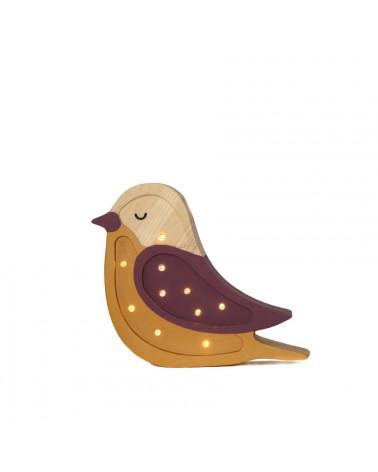 Mini veilleuse en bois oiseau bordeaux moutarde