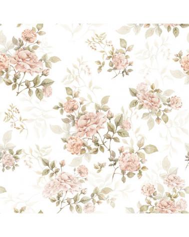 Papier peint à fleurs roses vintage