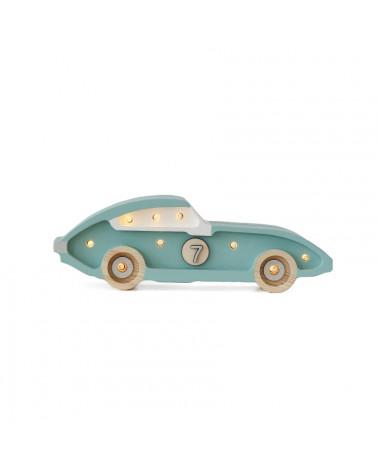 mini veilleuse voiture de course rétro bleu