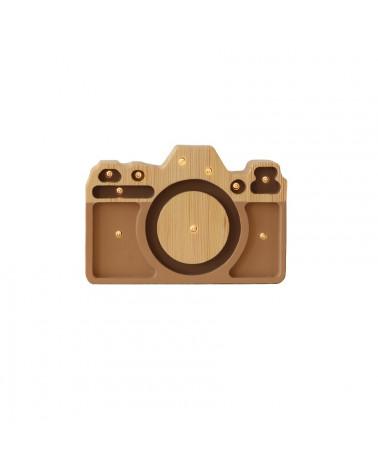 lampe veilleuse en bois mini appareil photo cappuccino