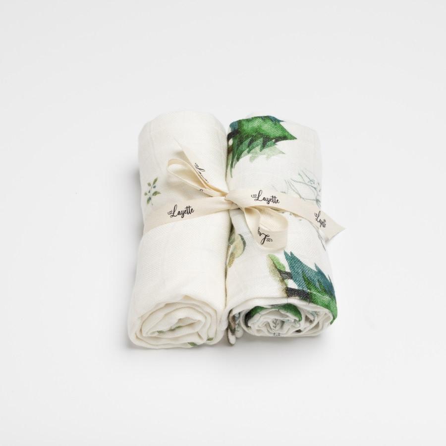 Langes bébé en mousseline de bambou collection forêt - pack de deux