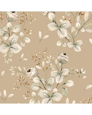 papier peint trèfles beige