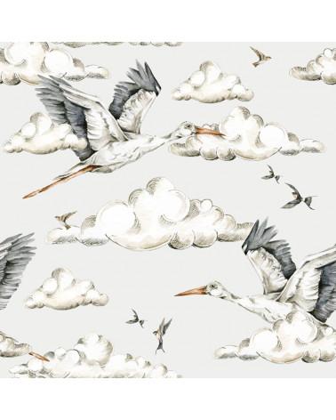 papier peint enfant cigognes dans le ciel