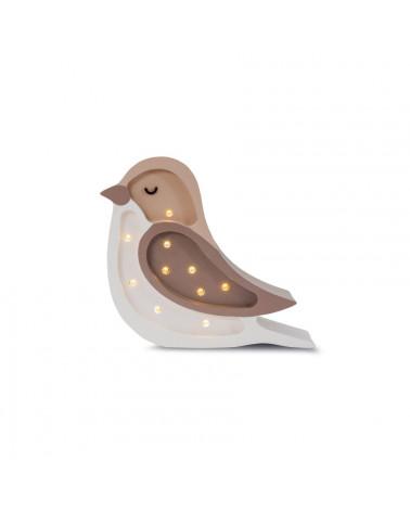 lampe veilleuse en bois mini oiseau café crème