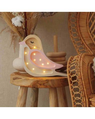 veilleuse en bois mini oiseau rose