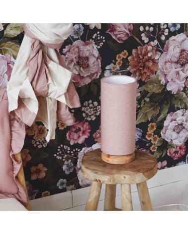 lampe de chevet tube, abat-jour en en rose poudré